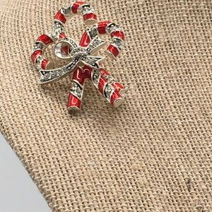 MONET BROOCH PEPPERMINT CANES CLEAR CRYSTALS